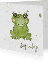 Verjaardagskaart met grote groene kikker