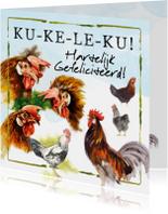 Verjaardagskaarten - Verjaardagskaart met hanen: Ku-ke-le-ku!