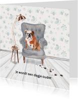 Verjaardagskaart met hond in leunstoel