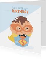 Verjaardagskaart met illustratie van een SUPER muffin