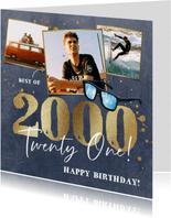 Verjaardagskaart met jaartal en spetters op velvet blauw