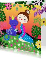 Verjaardagskaart met kat en vrolijk meisje