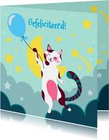 Verjaardagskaart  met kat met blauwe ballon in de wolken