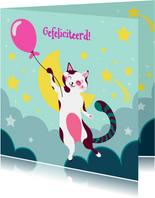 Verjaardagskaart met kat met roze ballon in de wolken