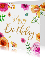 Verjaardagskaart met kleurrijke bloemen