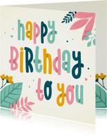 Verjaardagskaart met kleurrijke tekst