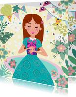 Verjaardagskaart met leuke prinses met cadeau en bloemen