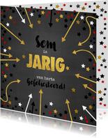 Verjaardagskaart met naam krijtbord en sterren