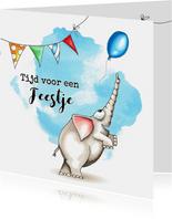 Verjaardagskaart met olifant en slingers