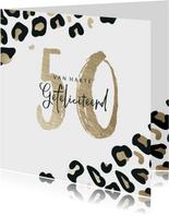 Verjaardagskaart met panterprint goudlook