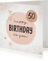Verjaardagskaart met pastel roze kleuren