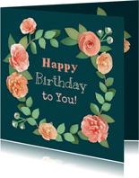 Verjaardagskaart met pioenrozen