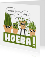 Verjaardagskaart met planten hieper-de-piep hoera!