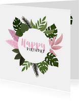 Verjaardagskaart met plantjes voor een vrouw