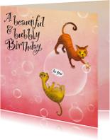 Verjaardagskaart met poezen op bellen! Is het champagne!?