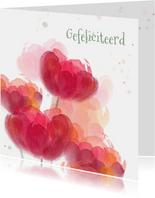 Verjaardagskaart met rode tulpen in waterverf