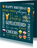 Verjaardagskaart met teksten, gebak en drankjes