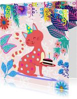 Verjaardagskaart met vrolijke kat, bloemen en slingers