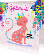 Verjaardagskaart met vrolijke kat, bloemen, taart & slingers