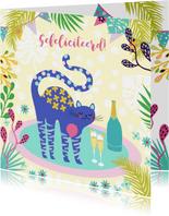 Verjaardagskaart met vrolijke kat, champagne en planten