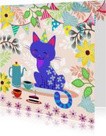 Verjaardagskaart met vrolijke kat, koffie en taart
