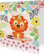 Verjaardagskaart met vrolijke leeuw