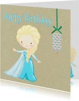Verjaardagskaart mooi prinsesje met lampion
