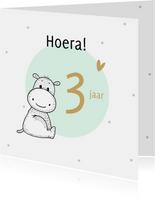 Verjaardagskaart nijlpaardje met mint cirkel en confetti