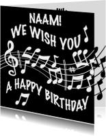 Verjaardagskaart notenbalk We wish You a Happy Birthday