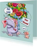 Verjaardagskaart olifant en hele grote bos bloemen