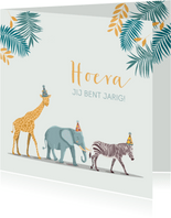 Verjaardagskaart olifant giraf zebra feestmuts