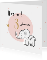 Verjaardagskaart olifantje met roze cirkel en confetti
