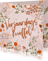 Verjaardagskaart oranje bloemen en kopertinten
