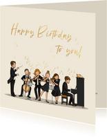 Verjaardagskaart orkest met dirigent