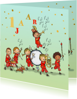 Verjaardagskaart orkest rood av