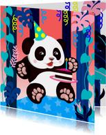 Verjaardagskaart panda met taart, slingers en planten