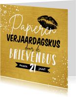 Verjaardagskaart papieren verjaardagskus kus goud spetters