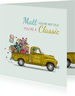 Verjaardagskaart pick-up truck met bloemen