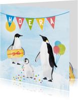 Verjaardagskaart pinguins