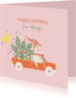 Verjaardagskaart plant ballon auto