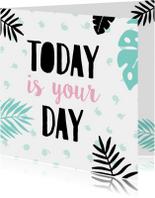 Verjaardagskaart plant-pc