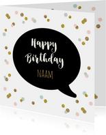 Verjaardagskaart praatwolk confetti