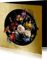 Verjaardagskaart prachtig boeket bloemen goud