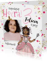 Verjaardagskaart prinsesje foto confetti goudlook spetters