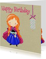 Verjaardagskaart Prinsesje met rood haar