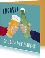 Verjaardagskaart - Proosten met bier
