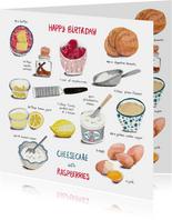 Verjaardagskaart recept taart Cheesecake