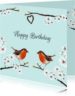 Verjaardagskaarten - Verjaardagskaart Roodborstjes hart