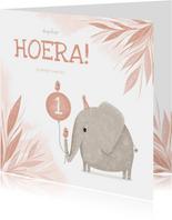 Verjaardagskaart roze 1 jaar olifantje met vogel
