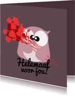 Verjaardagskaart rozen en uil mocards voor vrouw